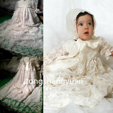 New Baptism Gown Lace White Ivory Christening Dresses Custom Long Sleeve +Bonnet