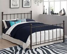 Metal Bed Frame Full Size w/ Headboard & Footboard Bronze White Color Furniture