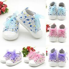US Infant Baby Girls Floral Soft Sole Crib Shoes Non-slip Sneaker Princess Shoes
