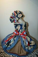 """American Military Dog Dress with Hat/Overskirt """"Planes/Helicopters - Lined-SMALL"""