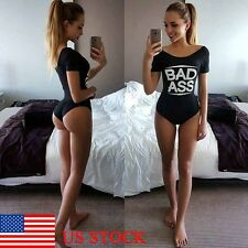 Women Letter Print One Piece Swimwear Sleepwear Summer Bodysuit Jumpsuit Romper