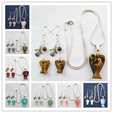 Charming Carved Various colors Stone & Tibet Silver Angel Necklace& Earrings Set