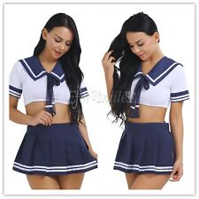 Women Ladies Sailor School Girl Cosplay Costume Uniform Outfit Party Fancy Dress