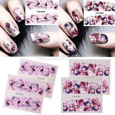 Fashion Nail Art Water Decals Sticker Transfers Deep Purple Flower Decoration US