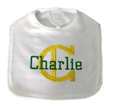 New Handmade Personalized Embroidered 100% Cotton Flannel Baby Boy Bib