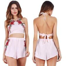 2pcs Women Halter Sleeveless Floral Crop Top+Shorts Summer Set Playsuits F5O9