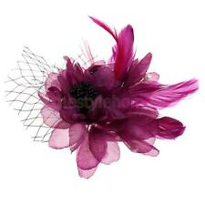 MagiDeal Feather Flower Hair Clip Brooch Pin Bridal Wedding Belly Dancer