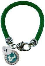 Custom South Florida Bulls Green Leather Bracelet Choose Initial Charm USF