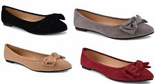 P26 Womens MicroSuede Ballerina Ballet Flat Shoes W/Bow