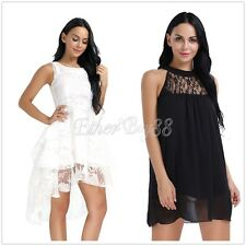 Women Summer Sleeveless Lace Evening Party Cocktail Short Mini Skater Dress