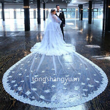 Cathedral Bridal Veils Lace Applique Wedding Veils + Comb White Ivory Luxury 5M