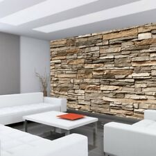 "Fleece Photo Wallpaper ""Asian Stone wall - brown - stacking"" !"