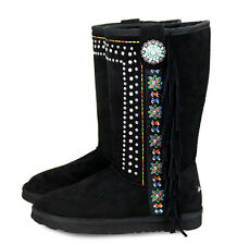Montana West Floral Embroidery & Rhinestone, Fringe Boots- Black, Size 9