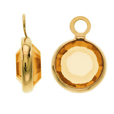 SWAROVSKI ELEMENTS Gold Plated Channel Crystal Charm Topaz 10mm (8)