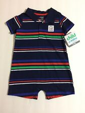Child Of Mine by Carters Baby Boy Blue Striped 1 Piece Romper 0-3 or 6-9 Months