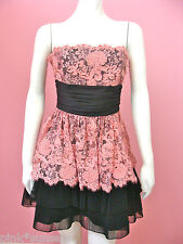 Betsey Johnson Peach Cotton Tape Strapless Dress Celebrity Prom Party Cocktail