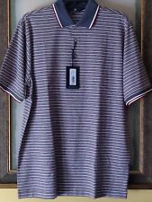 Hart Schaffner Marx HSM mens short sleeve golf polo shirt blue stripe size M $98
