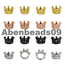 7x10mm  Zircon  Micro Pave Queen Crown Big Hole Bracelet Connector Charm Beads