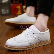 Mens Wing Tips Brogues Leather Retro Vintage Lace up casual Shoes British Style