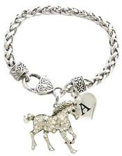 Custom Horse Silver Bracelet Jewelry Choose Initial or Family Charms Equestrian