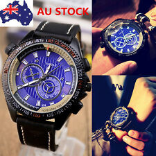 AU Men Waterproof Digital Sport Wristwatch Quartz Analog Stainless Steel Watch