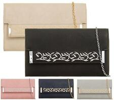 LADIES SMALL GOLD CHAIN ENVELOPE EMBROIDED FAUX LEATHER CLUTCH BAG EVENING BAG