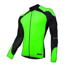 Funkier Force J-730-LW Mens Long Sleeve Cycle Cycling Jersey - Green/ Black