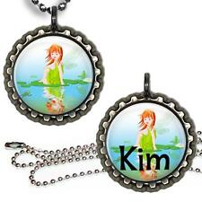 Custom Fairy Girl Bottle Cap Necklace w Chain Handcrafted Kid's Jewelry