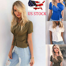 Womens Bodycon Short Sleeve Plunge Frill Strappy Causal Crop Tops Shirt Blouse