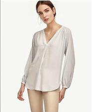 NWT Ann Taylor Long Sleeve Deco Shirred V Neck Blouse Top $79.50 Blue NEW