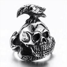 The Expendables Skull Men's Rings Stainless Steel Eagle Gothic Biker Ring Band