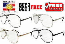 Aviator Cop Police Style Metal Frame Clear Lens Reading Glasses +1.00 to +3.50