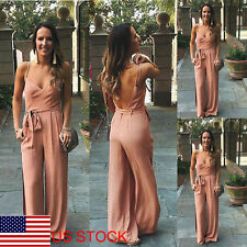 Womens Sling Sexy Backless Chiffon Deep V Cocktail Party Romper Jumpsuit Dress