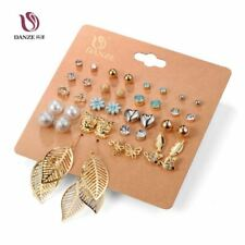 DANZE Punk 20 Pairs Pack Set Brincos Mixed Stud Earrings For Women Crystal Ear S