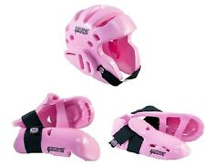 Proforce Sparring Gear Set Karate Pads Head Helmet Hand Foot Guards Pink 5 pc
