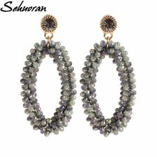 2017Fashion Bohemian crystal Long Earrings Unique Natural Traditional Crafts Kni