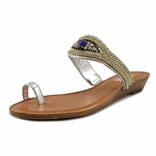 INC International Concepts Womens braesilver Split Toe Casual Slide Sandals