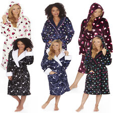 Ladies Forever Dreaming Hearts or Spot Print Soft Dressing Gown Robe