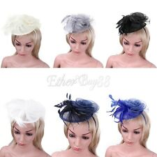 Kentucky Derby Mesh&Feather Fascinator Pillbox Hat Clip Cocktail Wedding Proms