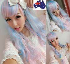Women Harajuku Lolita Long Wavy Curly Wig Hair Cosplay Anime Costume Party+Cap