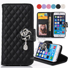 New Crystal Camellia Flower Leather Handbag Purse Wallet Case Cover For iPhone