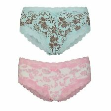 Ladies French Knickers Boy Shorts Style Briefs Lace Trimmed Floral Sizes 10-12