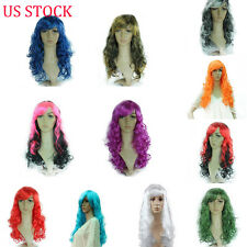 US Womens Model Lace Front Anime Curly Wavy Long Full Wig Hair Costume Party