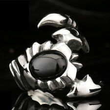 Men's Silver Scorpion King Black Cubic Zirconia 316L Stainless Steel Ring ZY