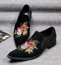 Mens Vintage Embroidery Pointy Toe Casual Loafers Heel Suede Wedding Dress Shoe