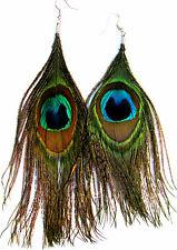 GORGEOUS REAL IRIDESCENT PEACOCK EYE FEATHER  EARRINGS CHOICE