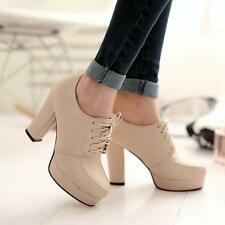 Womens Lace Up Platform Heel Ankle Boots Pump Shoes Plus Size Work Casual Shoes5
