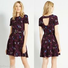 NEW LADIES OASIS SHADOW BIRD PRINT SKATER TUNIC DRESS SIZE 12