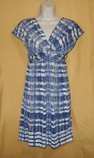 Max Studio women's blue ivory dress knee ruched tunnel knotted front top XS $98