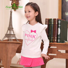 Girls Long Sleeved T Shirt New Childrens Tops 100% Cotton Age 2-6 Years